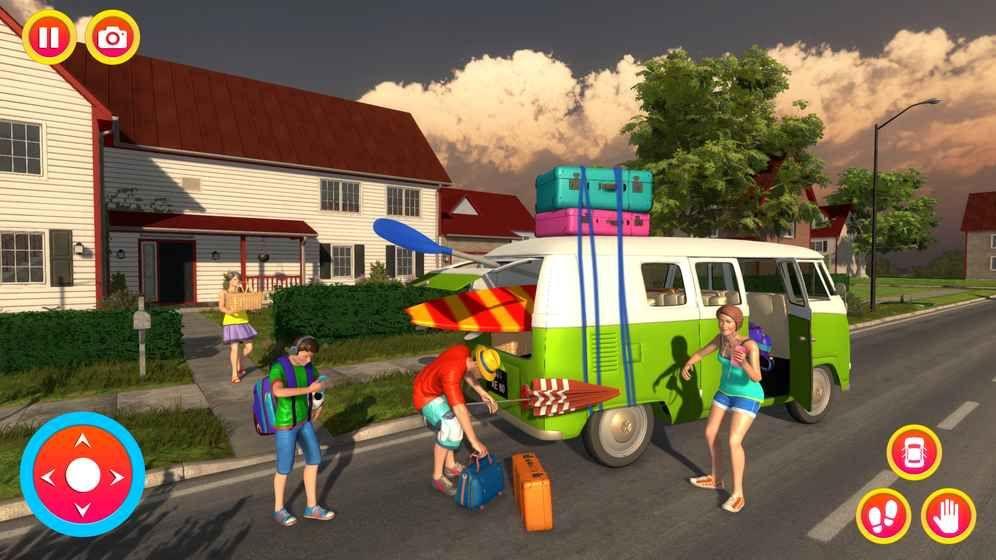幸福的家庭夏天假期露营车路之旅图1