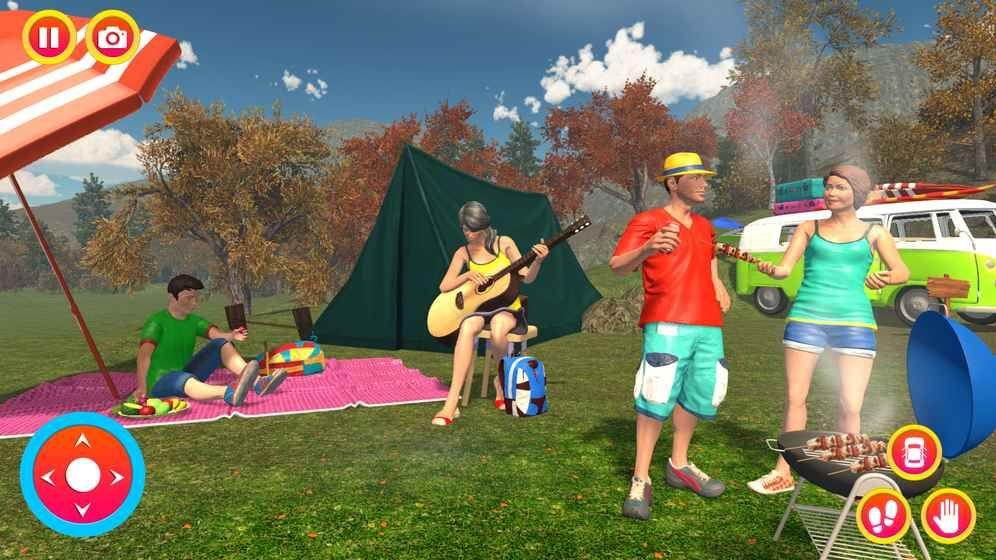 幸福的家庭夏天假期露营车路之旅图6