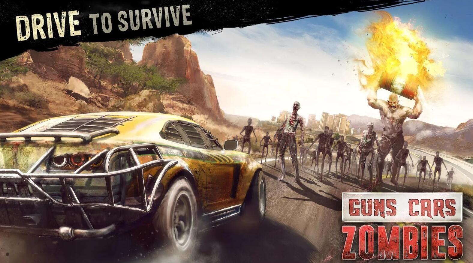僵尸碾压者安卓官方版游戏下载(Guns Cars and Zombies)图1: