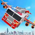 飞行消防车变身机器人游戏