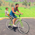 父子俩骑自行车