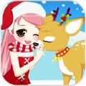 圣诞女孩与鹿